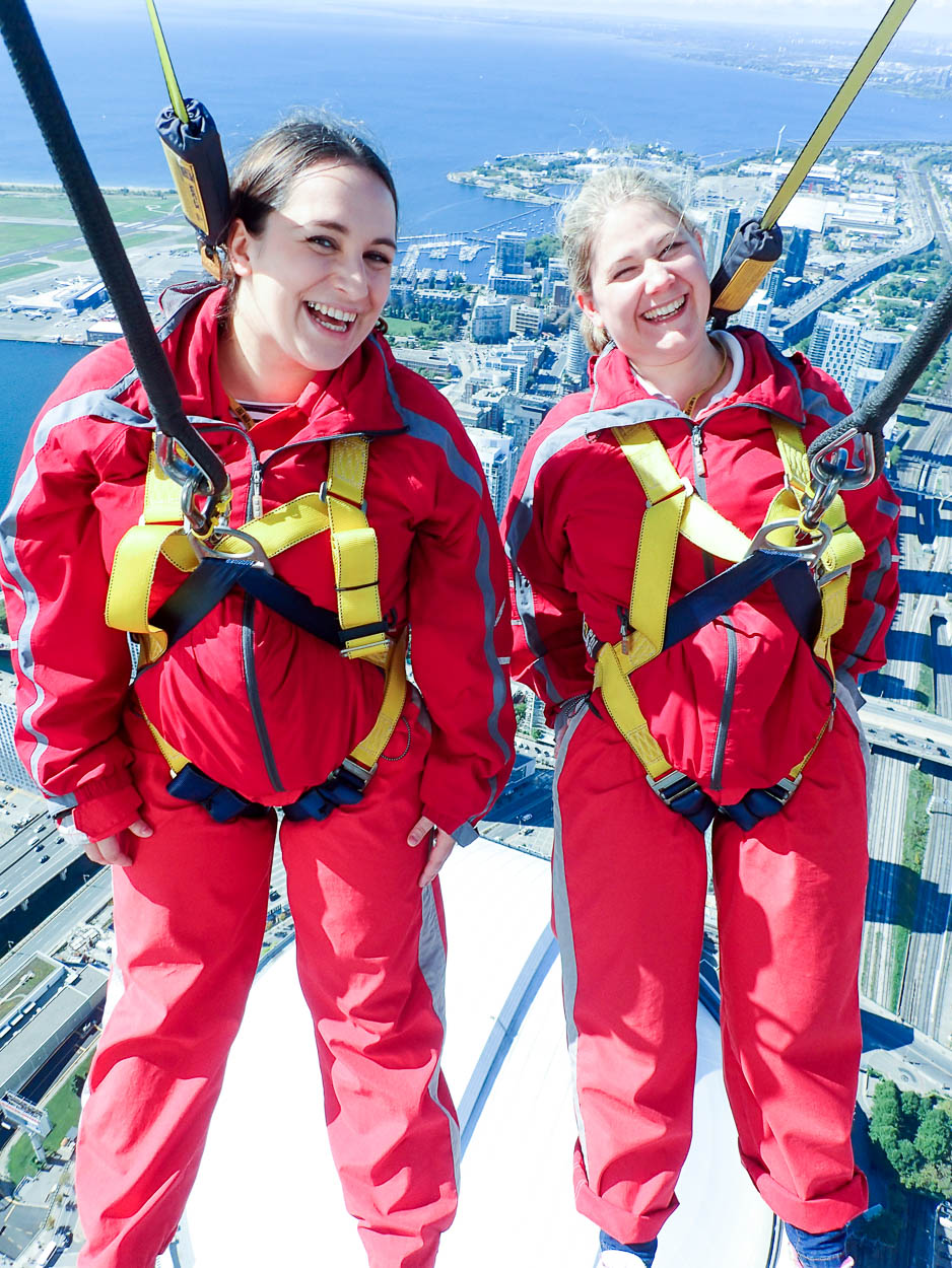 pinkschmink and Jenna on the EdgeWalk at the CN Tower, Toronto