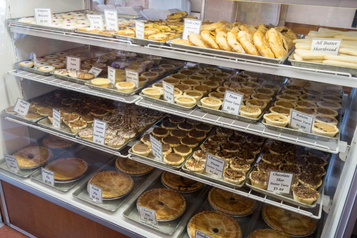 Freshly baked cakes and tarts in a bakery, Niagara-on-the-Lake