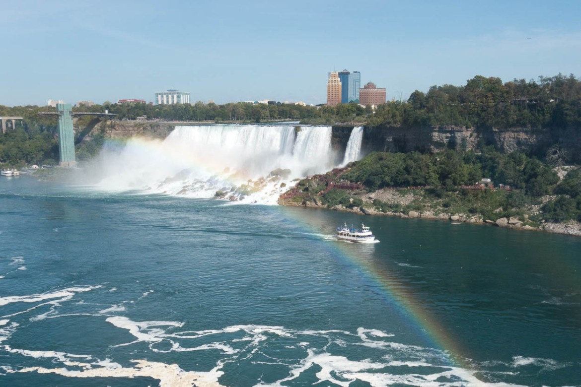Rainbow in the mist in front of the American Falls, Niagara