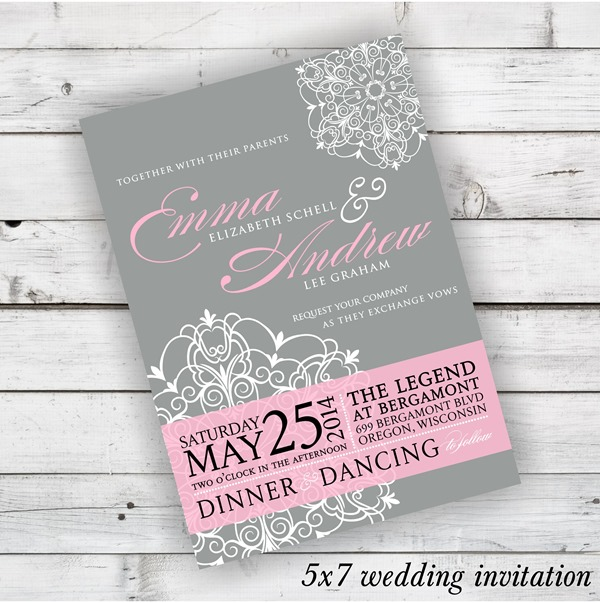 DIY Wedding Invitation Dahlia Design in Light Grey, Blushing, and White