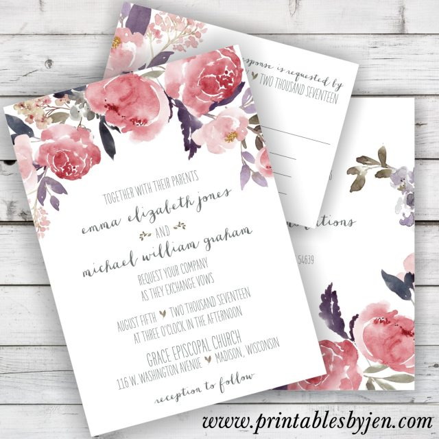 Watercolor Peony Printable Wedding Invitation