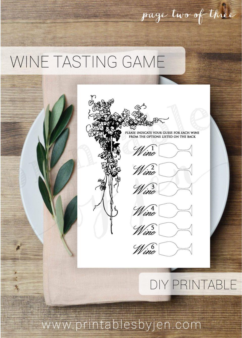 Wine Tasting Game DIY Printable File