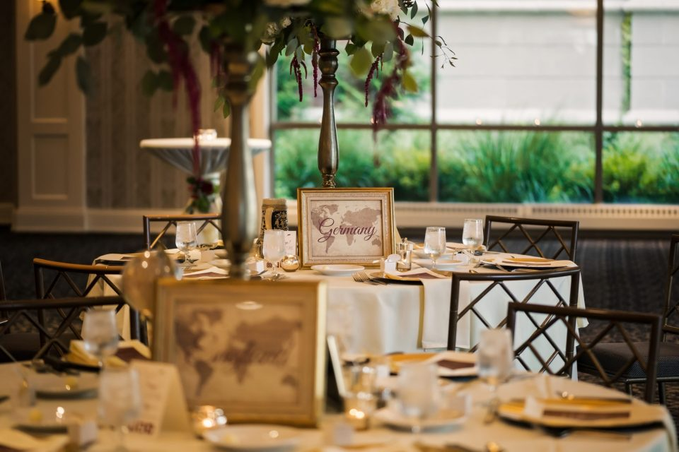 Travel Themed Wedding in The Cargill Room at The Waterfront Restaurant