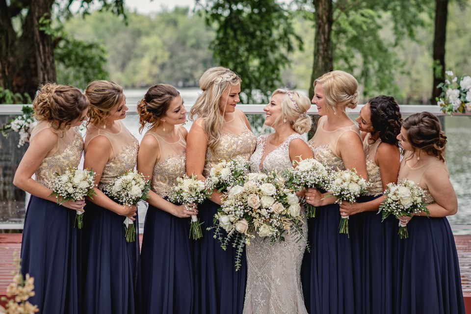 Navy and Champagne Gold Celebrations on the River Wedding in La Crosse, WI | © Pink Spruce Photography | www.pinksprucephotography.com