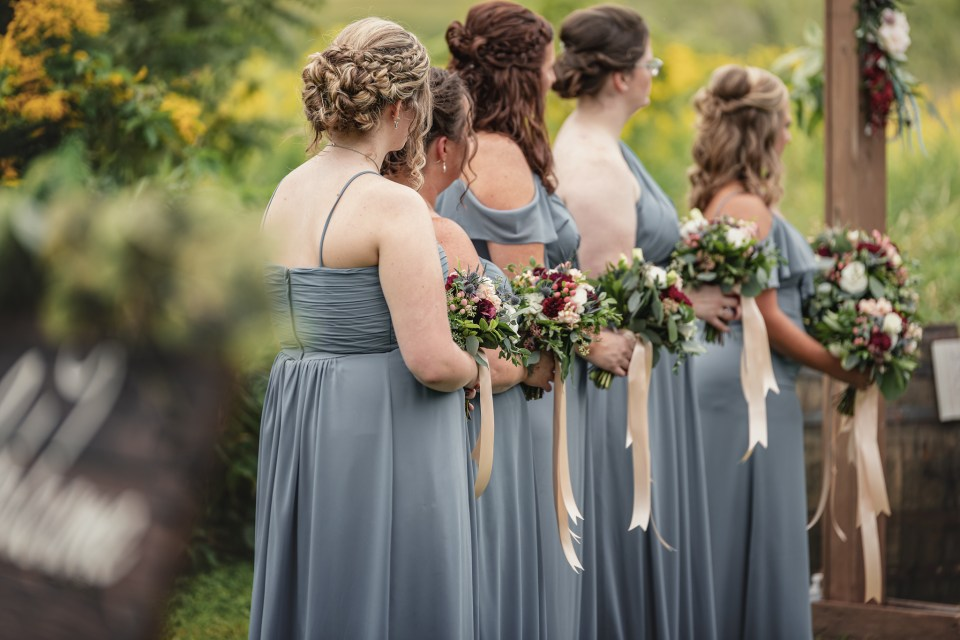 Dusty Blue Bridesmaid Dresses.  The Greenhouse at Bittersweet Flower Market Wedding | Pink Spruce Photography | www.pinksprucephotography.com