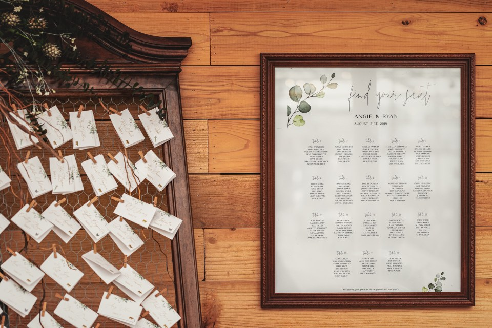 Seating Chart.  The Greenhouse at Bittersweet Flower Market Wedding | Pink Spruce Photography | www.pinksprucephotography.com
