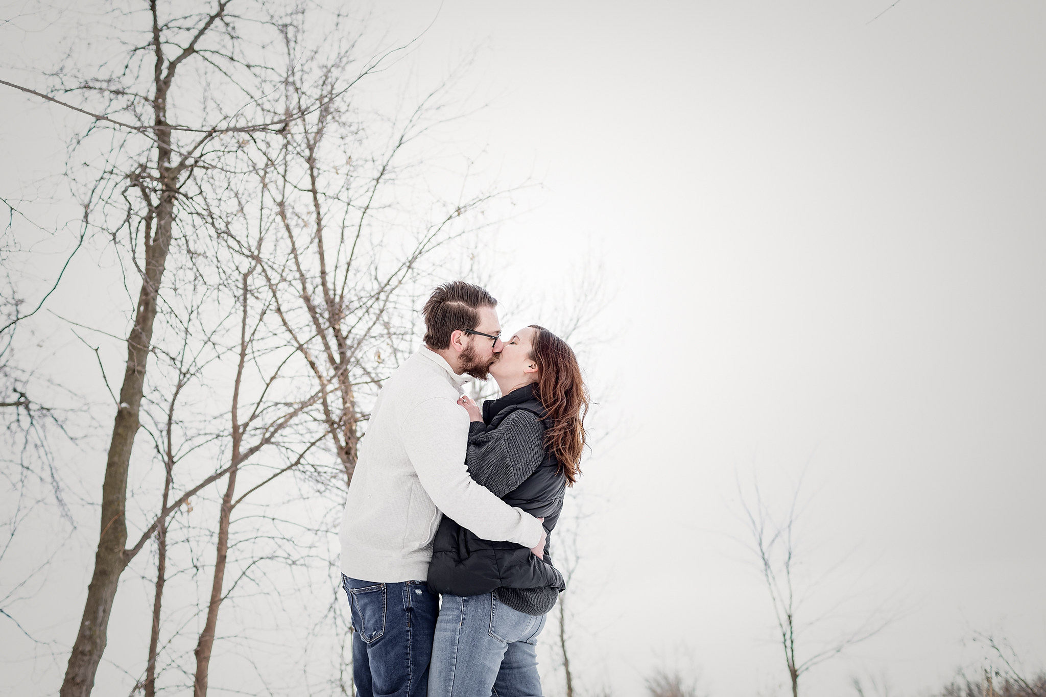 Winter Engagement Session at Myrick Park in La Crosse, Wisconsin with Pink Spruce Photography