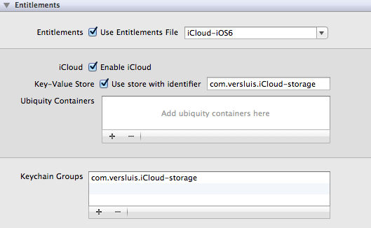 Entitlements in Xcode 4.6.3