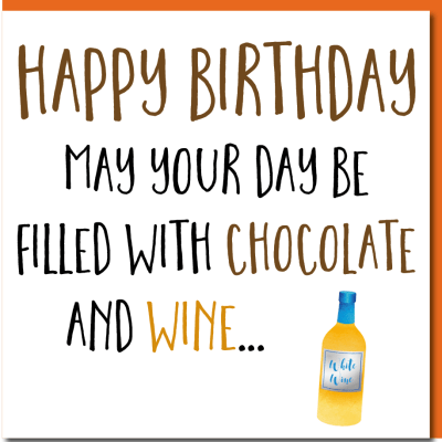 Chocolate And Wine Lovers Birthday Card Humourus