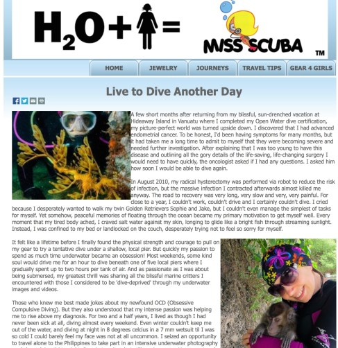 Jan 2015 MissScuba.com 'Live to Dive Another Day' (Feature Article)