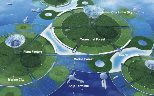 Green Float island concept by Shimizu Corporation --