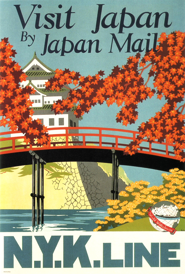 japanese steamship travel poster