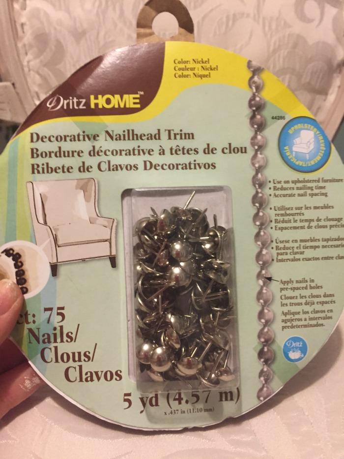 repurposed furniture decorative nailhead trim