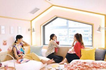 【日本京都旅游】三人行閨蜜福音~ 三人旅游一點都不尷尬,到提供三人住宿的複合式民宿「CAFETEL 京都三条 for Ladies」吧!下午茶、住宿、拍照打卡一次搞定~