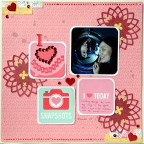 I heart reflection scrapbook layout with sequins