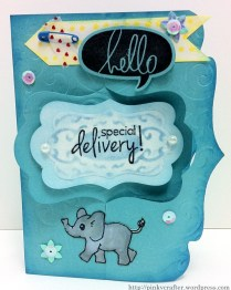 Double katie label pivot card front view of baby card
