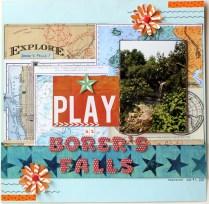 play at borer's falls scrapbook layout