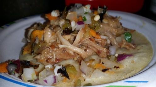 Senorita Carnitas slow-roasted pasture-raised pork al estilo Michoacan, escabeche y chiles toreados