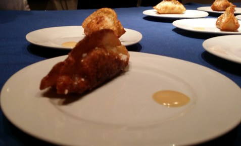 Talde/Pretzel Pork & Chive dumplings with Tahini Mustard