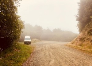 Deserted street in the fog, adventure New Zealand
