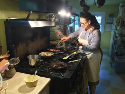 Our lovely hostess Lynda preparing breakfast