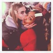 """cara delevingne """"#TOMMYFALL13 #NYFW pucker up @officialjdunn mmmmm"""""""