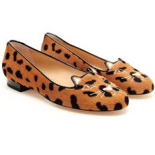 CHARLOTTE OLYMPIA Embroidered Ponyskin Kitty Flats