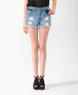 Forever21 Vintage High-Rise Faux Leather Trim Cutoffs $19.80