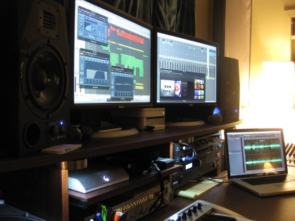 Logic Pro on the Mac Pro, Adam A7s, and Adobe Audition on the MacBook Pro