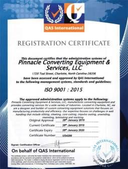 Pinnacle Converting ISO 9001:2015 Certified