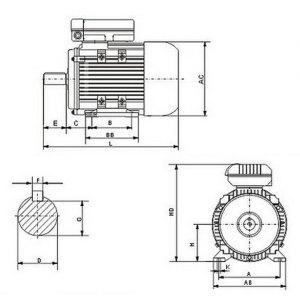 Electrical motor singlephase 240v 22kw 3HP 2850rpm shaft