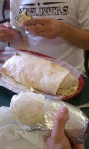 Regular burrito for scale. I'm sorry there's no banana for scale on the burrito.