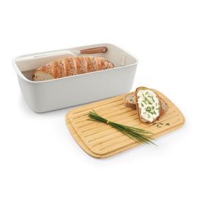 Kuti buke plastike me vend per thiken dhe kapak bambu per prerjen e bukes 42x24cm ONLINE
