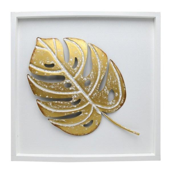 Kornize dekorative gjethe Palme dru metal 41x41x3 cm 250659