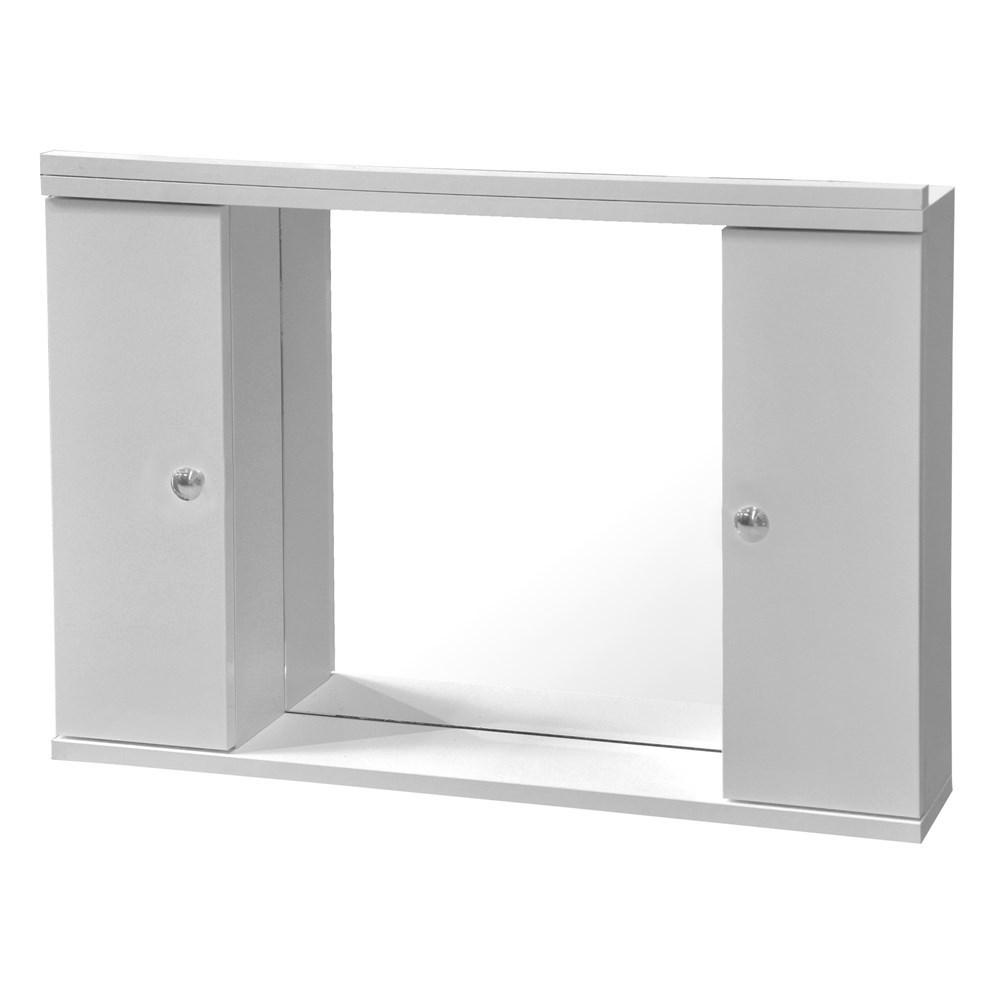 Pasqyre me ndricim me raft melamine e bardhe 70x50 cm 224494 1