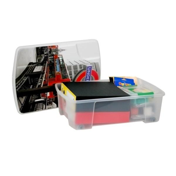 storage box london plastic clear 56x39xh18 cm 1