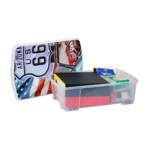 storage box route 66 polypropylene clear 565x39xh18 cm 1
