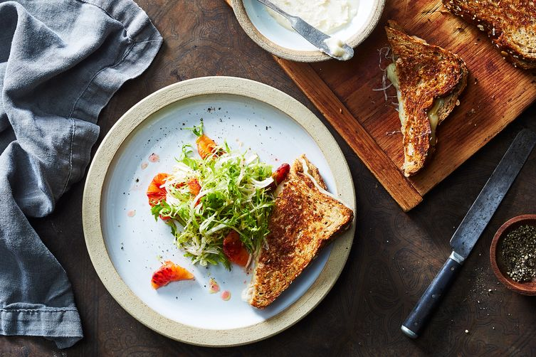 Coconut Butter Grilled Cheese with Frisée and Blood Orange Recipe