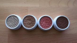 Left to right: Metallic, Metallic, Pearlized, Matte