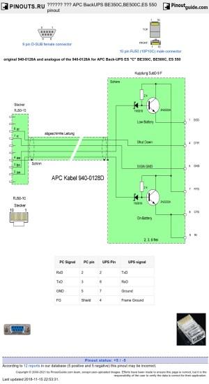 APC BackUPS BE350C,BE500C,ES 550 pinout diagram