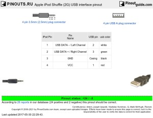 Apple iPod Shuffle (2G) USB interface pinout diagram