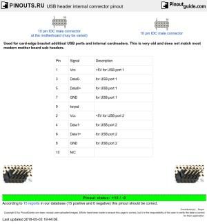 USB header internal connector pinout diagram @ pinoutsru