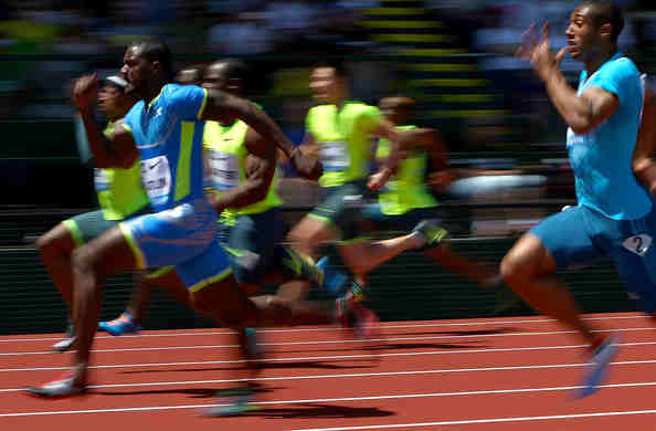 Justin Gatlin wins the 100m at Hayward Field in May.