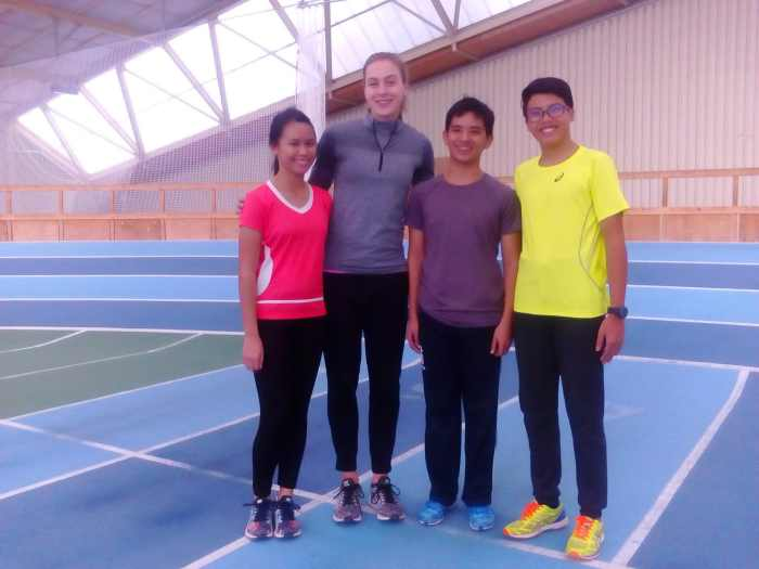 Ateneo de Davao University Athletes with German National Sprinter Alexandra Burghardt.