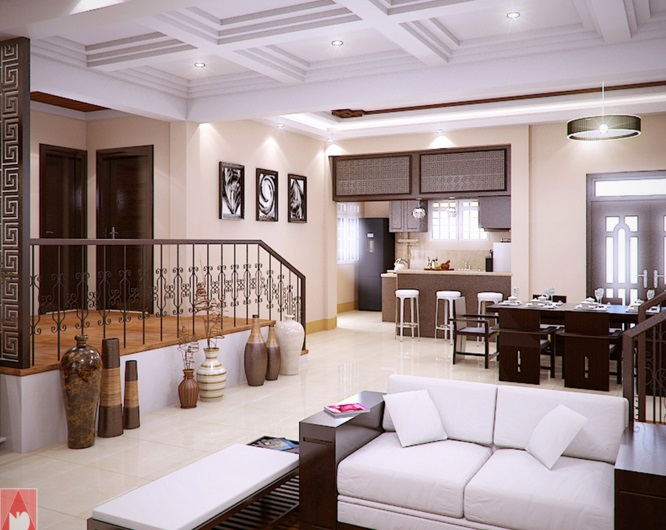 Modern Bungalow House of Traditional Touch with Splendid ...