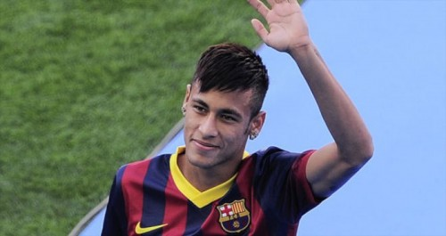 Neymar in his new employer uniform of FC Barcelona