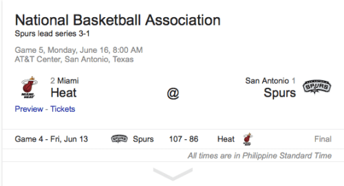 Miami Heat vs San Antonio Spurs Game 5 of the Finals