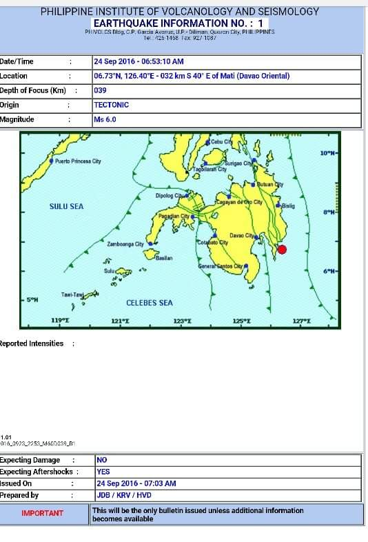 6.0 Magnitude Earthquake felt in Southern Mindanao