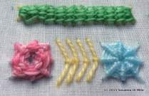 roses, fly stitch and wheel