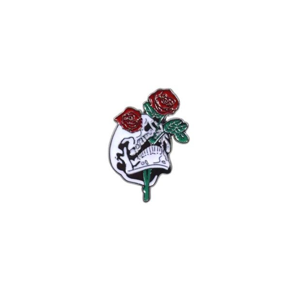 pin's skull and roses